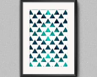 3 Watercolour triangle Geometric instant downloadable prints wall art home decor