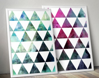 Geometric Watercolour Triangle art printables