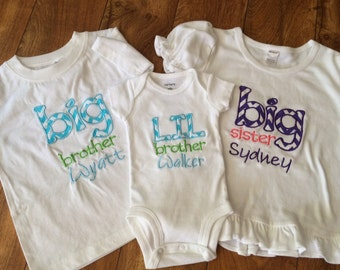 Personalized Big/Lil Brother/Sister 3 peice Set