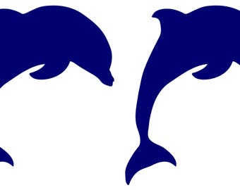 2x Dolphin Stickers Decal Transfer Craft Tile, Wall, Window Bathroom Many Colours 2 PIECES