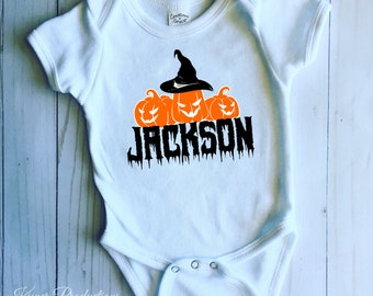 0eee4575e Customize Your Own Personalized Halloween Pumpkin Themed Bodysuit/Shirt /  Unisex