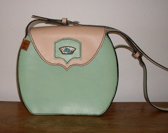 Leather bag, green cream bag, handmade bag, shoulder bag, women's leather handbag