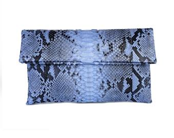 d3b8fab5b31 Light blue motif snakeskin clutch | foldover clutch bag | envelope clutch |  leather clutch bag | python bag | snakeskin bag | casual bag