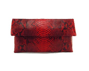 a4ab4dba3a2 Clearance! Red motif snakeskin clutch | foldover clutch bag | spring clutch  | envelope clutch | leather clutch bag | python bag (defective)