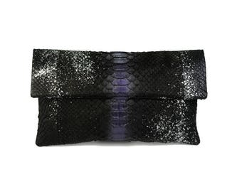 e8dfcbc4466b Black and purple snakeskin clutch