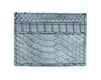 93af8279dc60 Silver python card holder | leather card holder | 5 slot card holder | slim card  case | namecard holder | minimalist wallet | slim wallet