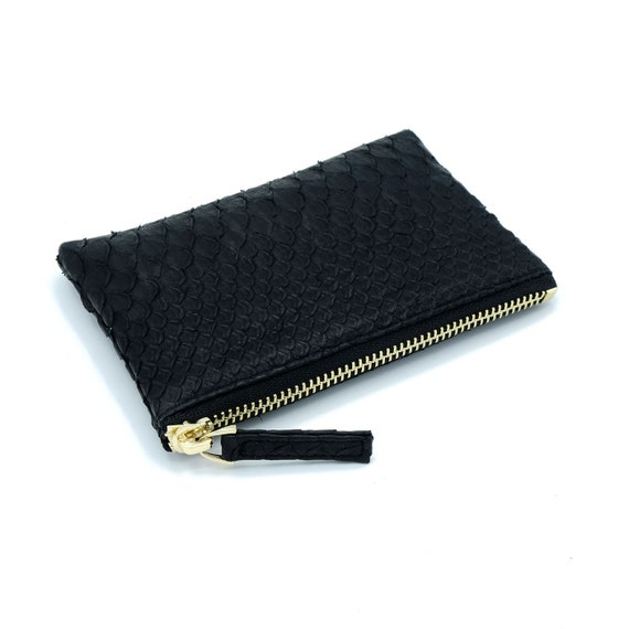 minimalist wallet small leather pouch leather coin pouch small leather wallet slim wallet Natural snakeskin purse python pouch