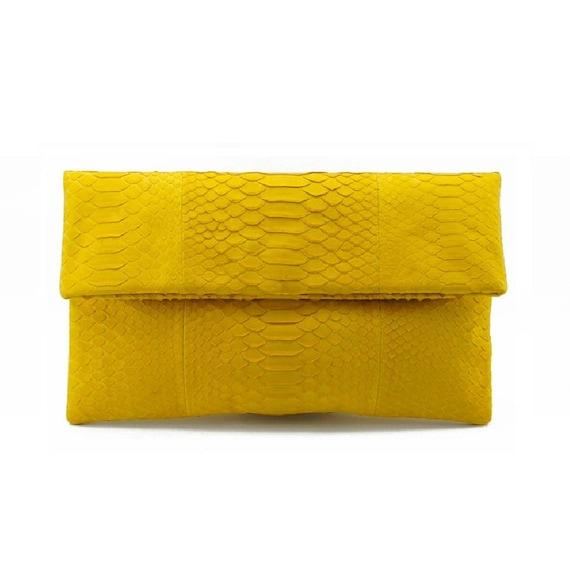 snakeskin bag foldover clutch bag leather clutch bag envelope clutch python bag Light pink snakeskin clutch
