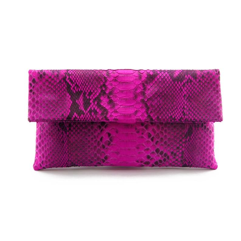 25dbd180f80f Hot pink motif snakeskin clutch foldover clutch bag | Etsy
