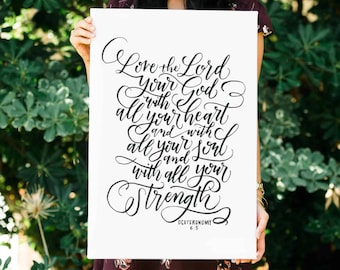 Love The Lord FREE SHIPPING Handlettered Modern Calligraphy Canvas Deuteronomy 6:5 Bible Verse Canvas Wall Art