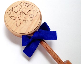 Personalized Baby Gift| Baby Moon and Stars Keepsake Wooden Rattle | Custom Heirloom Baby Gift | To the moon and back | Baby Shower Gift