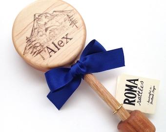 Personalized Baby Gift| Mountain Keepsake Wooden Rattle | Custom Heirloom Baby Gift | Baby Shower Gift
