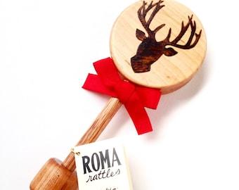 Personalized Baby's Christmas Gift | Natural Wood Reindeer Rattle Teething Toy | Heirloom Reindeer Christmas Baby Shower Gift