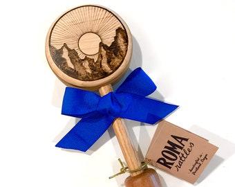 Personalized Baby Rattle Gift| Mountain Sunrise Keepsake Wooden Rattle | Custom Heirloom Baby Gift | Baby Shower Gift