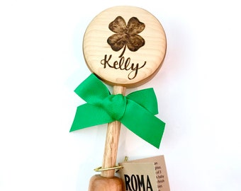 Personalized Irish Baby's Shamrock Gift | Celtic Heritage Wooden Rattle | Heirloom Baby 4 Leaf Clover Toy | Natural Wood Teether