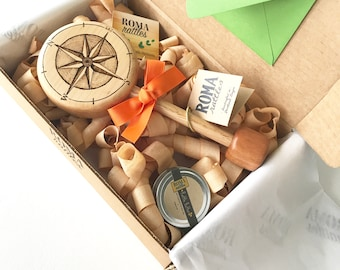 Personalized Baby's Gift | Baby Compass Adventure Awaits Keepsake Wooden Rattle | Heirloom Baby Toy | Natural Wood Teether