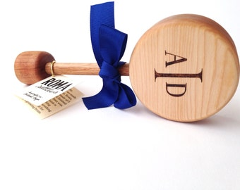 Personalized Baby's Monogram Gift | Keepsake Wooden Rattle | Heirloom Baby Toy | Natural Wood Teether