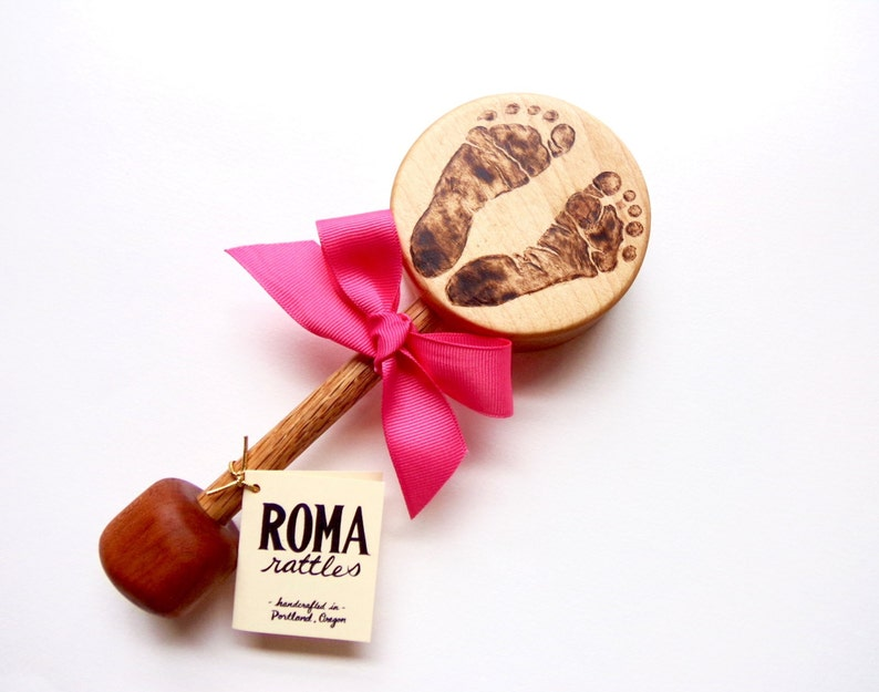 Personalized Baby Footprint Wooden Rattle  Custom Wooden Baby image 0