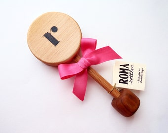 Personalized Baby Gift Initial Wooden Rattle | Natural Wood Rattle Teething Toy | Heirloom Monogram New Baby Shower Gift