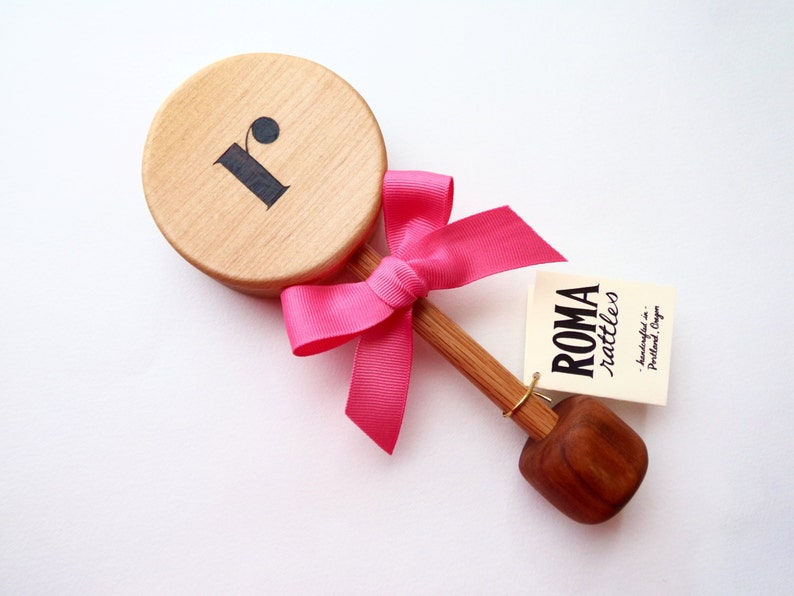Personalized Baby Gift Initial Wooden Rattle  Natural Wood image 0