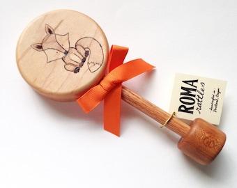 Personalized Baby Gift| Baby Fox Keepsake Wooden Rattle | Custom Heirloom Baby Gift | Woodland Animals Baby Shower Gift