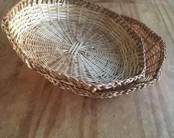 Set of 2 Wicker Baskets/ Boho Baskets/ Plates