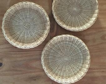 Rattan Wicker Baskets/ Set of 3 /Vintage Decor