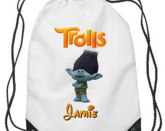Branch From Trolls Drawstring Swimming, School, PE Bag For Girls and Boys Personalised Disney Dream Works Bag.