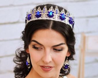 Wedding tiara Crystal crown tiara blue Rhinestones crown Blue crown Bridal headpiece Bridal crown Wedding crown blue Silver bridal crown