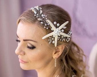 Beach headband Starfish headband Wedding beach wedding crown Starfish crown Beach headpiece Shell hair accessories Shell crown mermaid 12