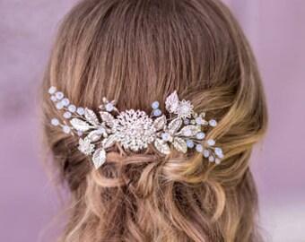 Bridal hair comb Crystal hair comb Wedding hairpiece Flower hair comb Wedding hair comb Bridal headpiece Bridal comb hairpiece silver comb