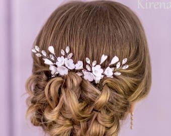 White bridal hair pins Flower hair pins ivory Wedding hair pins Rhinestone hair pins Crystal hair pins Floral hair pins Bridal hairpin