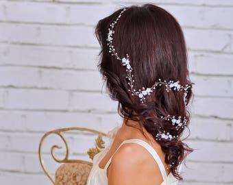 Flower hair vine Bridal hairpiece Wedding headpiece Pearl hair vine Bridal flower hairpiece Wedding hair piece crystal Wedding hair vine