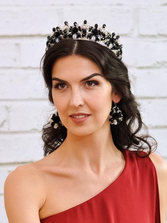 Set Crystal Tiara Wedding Crown Headpiece Black Bridal Crown Etsy