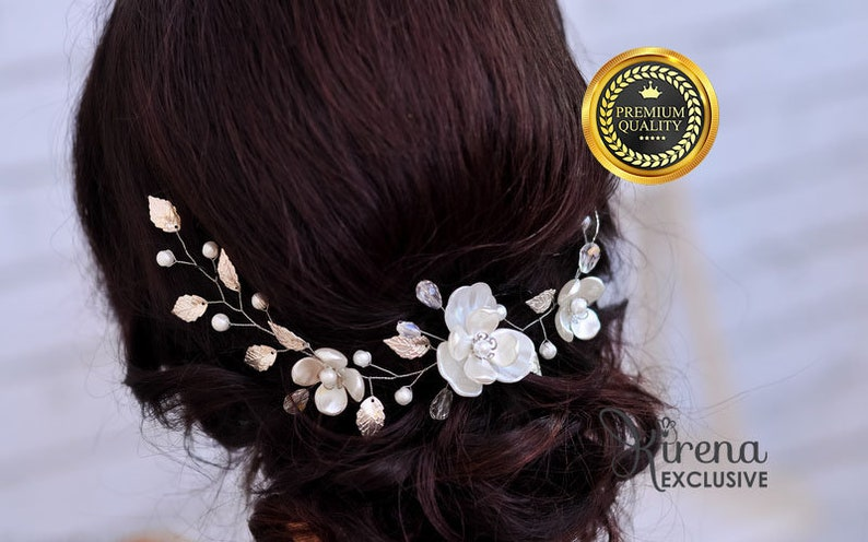 Bridal Hair Piece Bridal Hair Vine Comb Bridal Hairpiece image 0