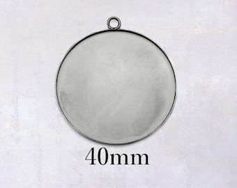100x 201 Stainless Steel Flower Charms Smooth Stamping Blank Tags Pendants 8.5mm