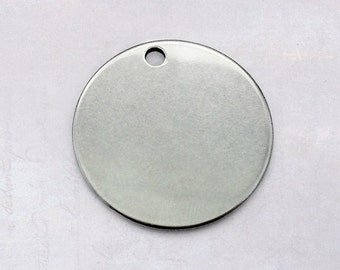 6 x Round Blank 20mm Stainless Steel Charm Stamping Tags - 1mm Thick