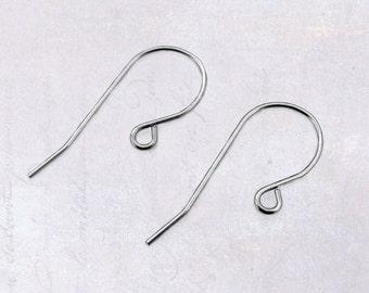30 x Pairs Stainless Steel Earring Hooks Earwires 20 Gauge - Simple Design Shepherd Hook Ear Wires