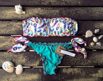 FEATHERS Bikini set Bandeau Top Woman Swimwear Handmade