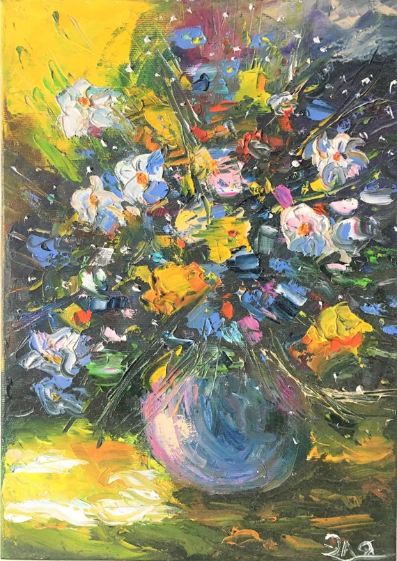 Flowers Bouquet Oil Painting Abstract Flowers Painting Etsy