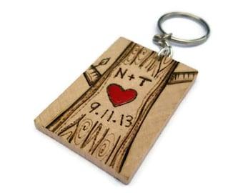 personalized keychain, couples keychain, anniversary keychain, gift for him, wood keychain, tree keychain, couples tree, custom couples gift