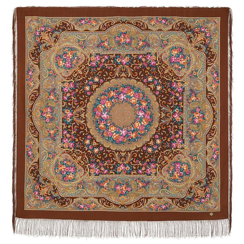 53x53inhes 1677-16 Pavlovo Posad russian shawl 100/% wool with silk fringe 135x135cm
