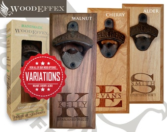 Personalized Bottle Opener Magnetic Cap Catcher - Laser Engraved
