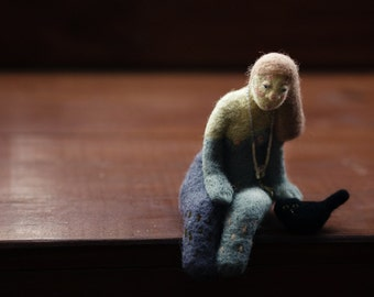 Felted doll, Lonely princess Fiona with a black cat, felted doll, wool felted sculpture