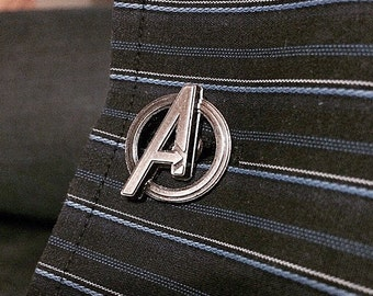 Avengers Symbol Superhero Pewter Cufflinks (one pair)