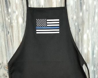 c113fc6147f Thin Blue Line Apron - Back the Blue Apron - Blue Line Flag Apron - Police  Apron - Law Enforcement - American Flag