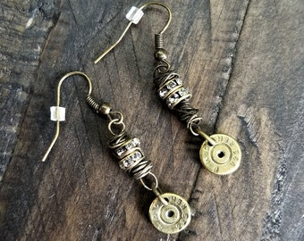 Handmade Wire Wrapped Bullet Earrings in Antique Brass for the Country Hunting Girl