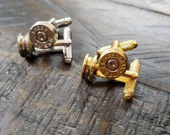 Handmade Spent Bullet Cuff Links Bullet Cufflinks Gold Men's Accessories 9mm .40 .45