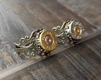 Handmade Filigree Bullet Rings Adjustable with or without Swarovski Crystals Bullet Jewelry for the Country Girl