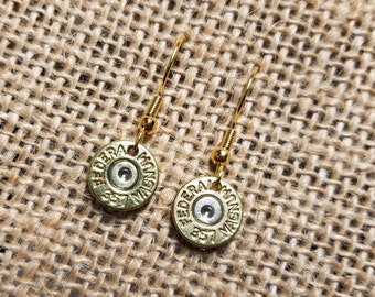 Handmade .357 Brass Hanging Dangle Bullet Earrings with or without Swarovski Crystals Dangle Earrings